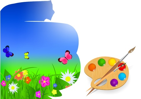 brush and sky paint vector illustration Vector