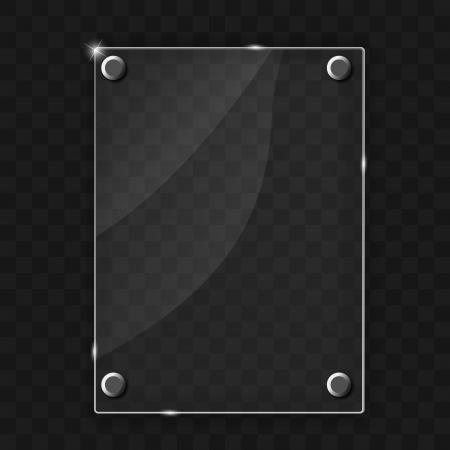 verre: Cadre en verre sur l'illustration vectorielle m?tal abstrait