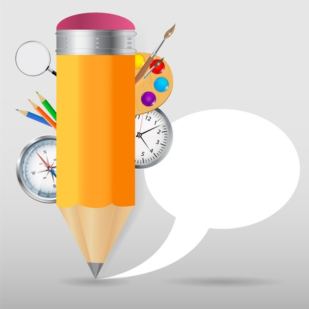 Pencil with speech bubble Vector illustration Stock Vector - 19719823