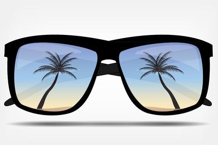 sonnenschirm: Sonnenbrillen mit einer Palme Illustration Illustration