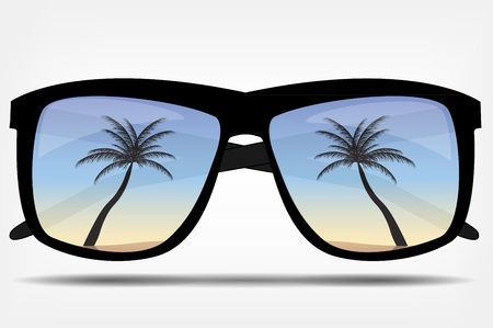 Sunglasses with a palm tree illustration Vector