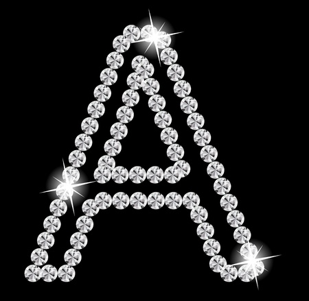 to cut out: Diamond Alphabet illustration