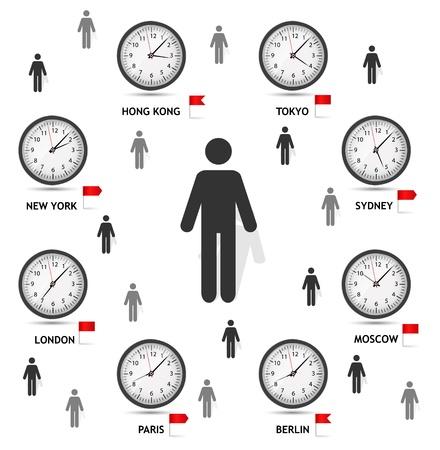 tornitura: Time Zone mondo illustrazione