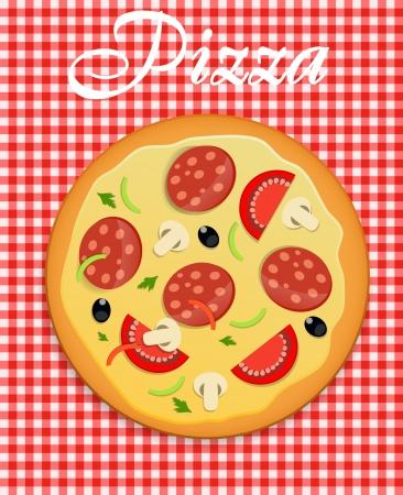 pepperoni pizza: Pizza menu template illustration Illustration