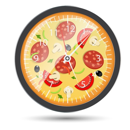 take time out: Pizza watch concept illustration