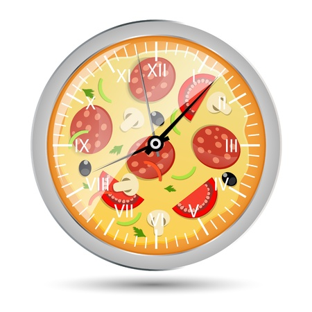 watch out: Pizza reloj Ilustraci�n del concepto