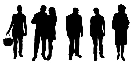 medium group of people: silhouettes of people vector illustration Illustration