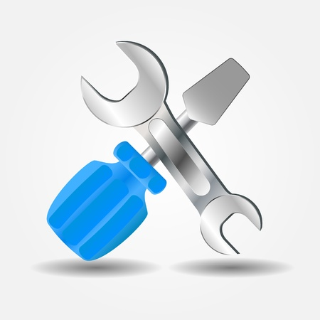 Screwdriver and Wrench icon illustration Illustration