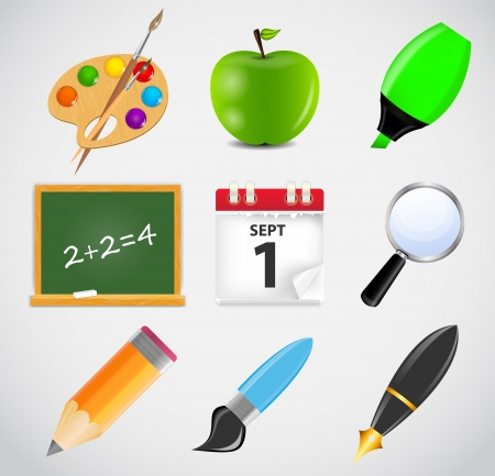 Different school icon illustration set Vector