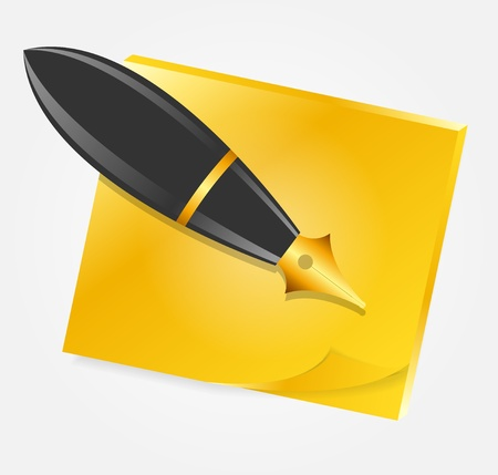 Yellow paper with ink pen icon illustration Vector