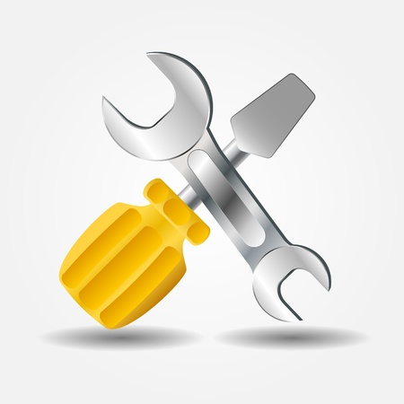 Screwdriver and Wrench icon illustration Vector
