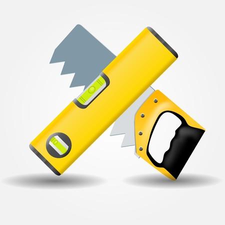 carpenter tools: Level and saw icon illustration