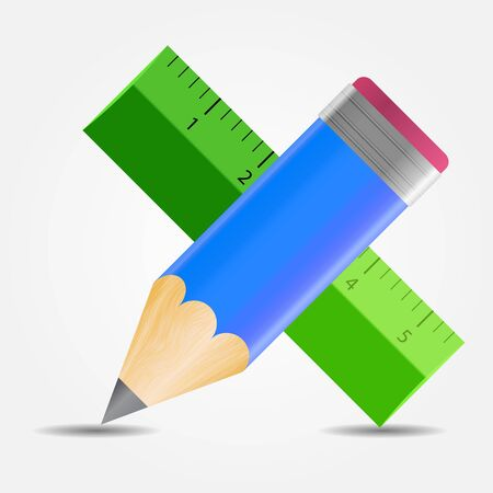 Pencil and ruler icon illustration Stock Vector - 20831241