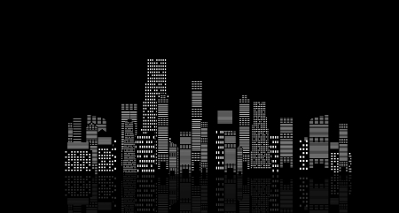 illustration of cities silhouette on black background Stock Vector - 20831303