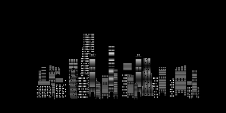 illustration of cities silhouette on black background Vector