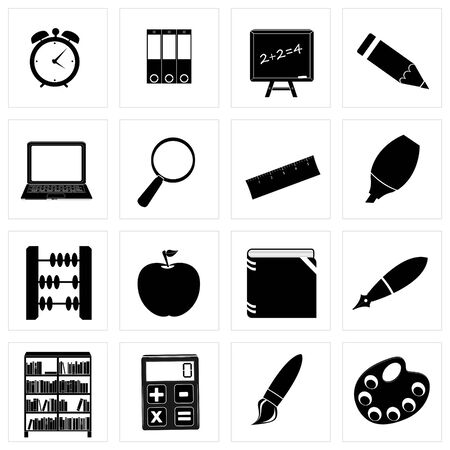 Different school icon silhouettes illustration set illustration