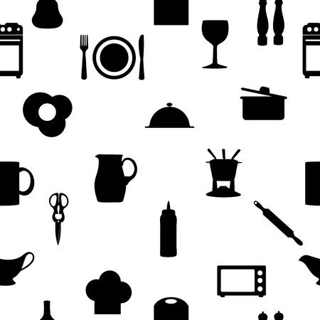 milkman: Kitchen tools icons Silhouette seamless pattern Stock Photo