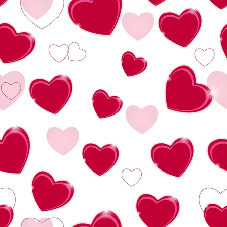 Happy Valentines Day seamless pattern background with heart  Vec photo