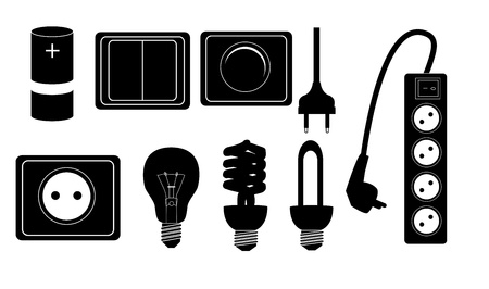 Electric accessories silhouette icons illustration illustration