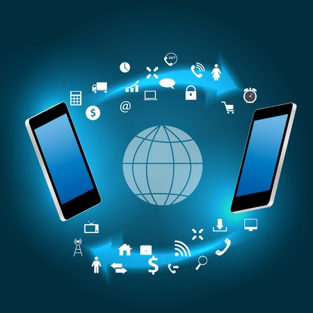Global connecting concept with mobile phone illustration Stock Vector - 21318211
