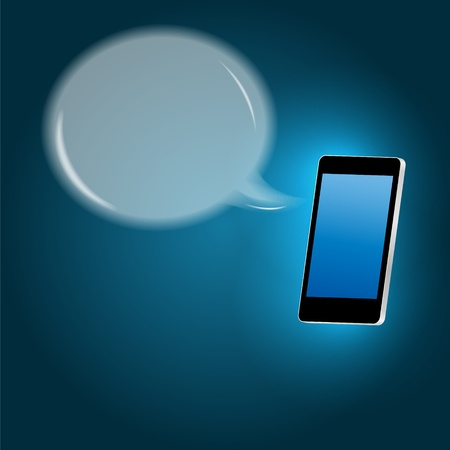 Mobile phone with speech bubble illustration Stock Vector - 21318221