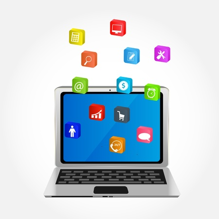 Computer with icons illustration Stock Vector - 21318255