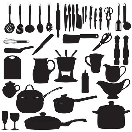 kitchen tools: Keukengereedschap Silhouette illustratie
