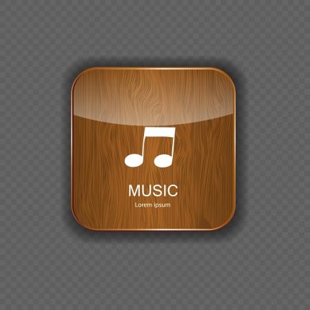 electronic music: Musica in legno icone delle applicazioni Vettoriali