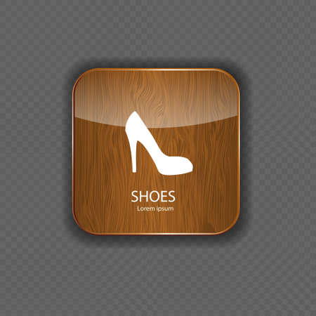 Shoes wood application icons Vector