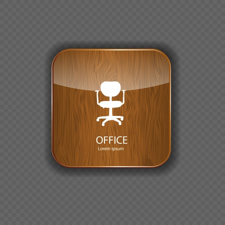 Office wood application icons vector Vector