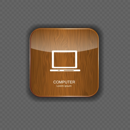 man made object: Computer wood application icons Illustration