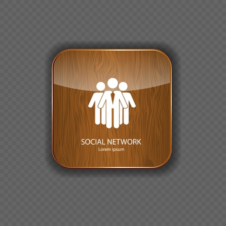 Social network  wood  application icons Stock Vector - 21878185