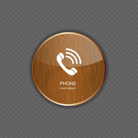 Phone wood application icons Stock Vector - 21878235