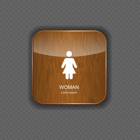Woman wood  application icons vector illustration Vector