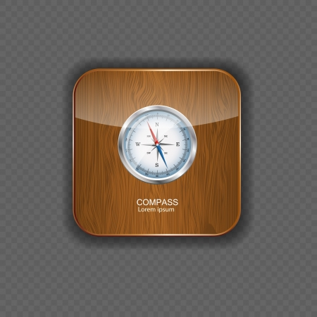 Glossy Compass. Vector Illustration  wood application icons Stock Vector - 21878316