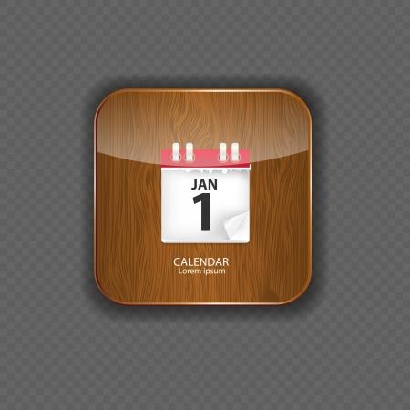 Calendar wood application icons vector illustration Vector