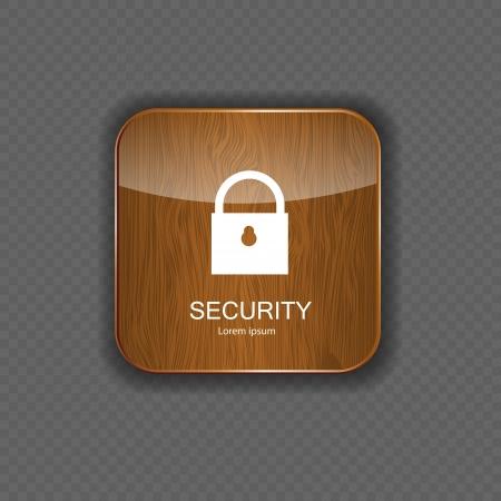icono candado: Seguridad iconos de las aplicaciones de madera