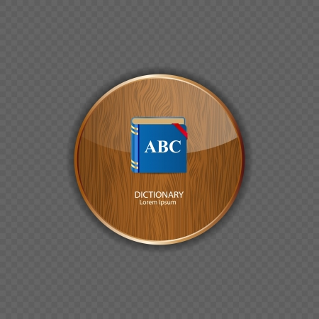 Dictionary wood application icons vector illustration Vector