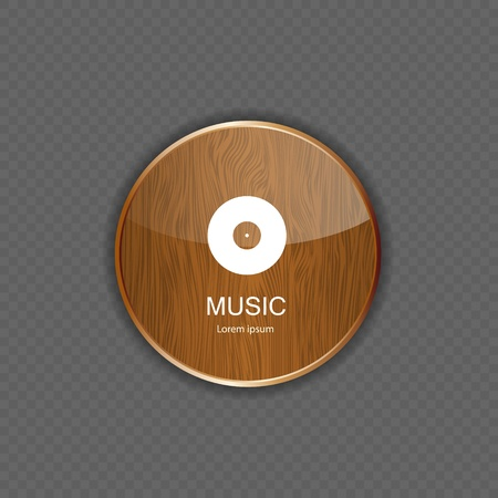 Music wood  application icons Stock Vector - 21878639
