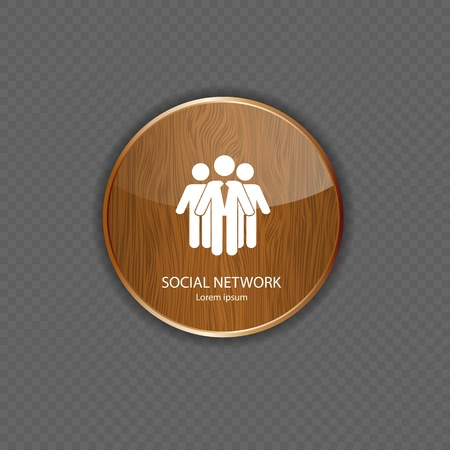 Social network  wood  application icons Stock Vector - 21878777
