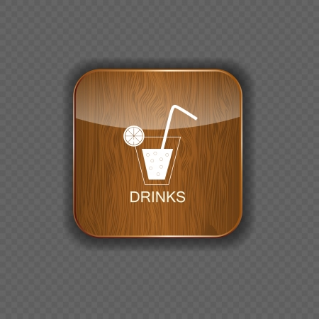 Drink wood application icons Illustration