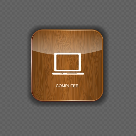 Computer wood application icons Stock Vector - 22258177