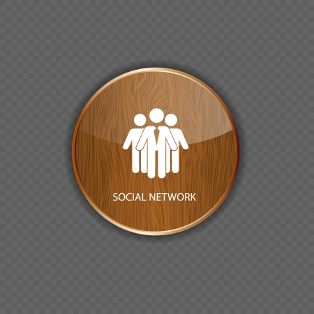 Social network  wood  application icons Stock Vector - 22258204