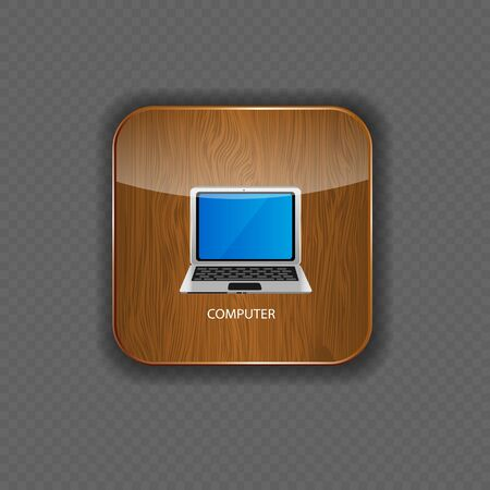 Computer wood application icons vector illustration Stock Vector - 22258355