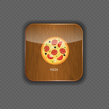 Pizza wood application icons vector illustration Vector