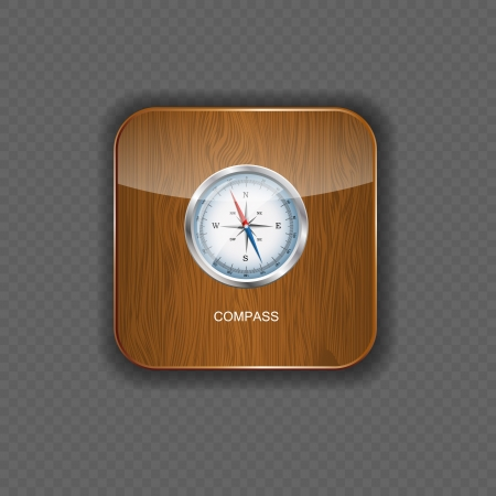 Glossy Compass. Vector Illustration  wood application icons Stock Vector - 22258439