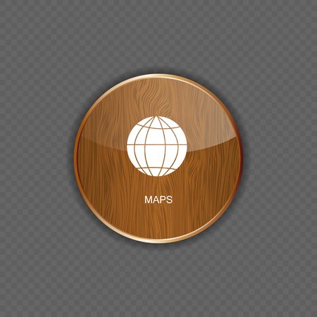 Map wood application icons vector illustration
