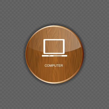 Computer wood application icons Stock Vector - 22258446