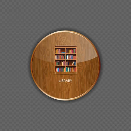 Library wood application icons vector illustration Vector