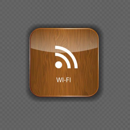 Wi-fi wood  application icons Vector